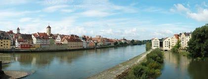Panorama van oud Regensburg, Beieren, Duitsland Royalty-vrije Stock Foto's