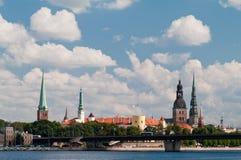 Panorama van Oud Riga Stock Afbeeldingen