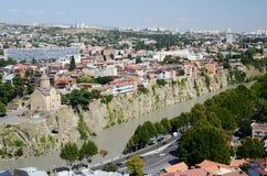 Panorama van oud Tbilisi, mening van Narikala-vesting Royalty-vrije Stock Foto