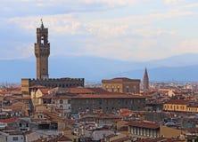 Panorama van oude het buolding geroepen PALAZZO VECCHIO in Florenc royalty-vrije stock afbeeldingen