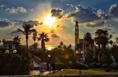 Panorama van oude Jaffa-avond royalty-vrije stock foto