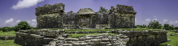 Panorama van Oude Mayan ruïne Tulum Mexico Stock Foto's