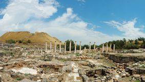 Panorama van oude ruïnes van Beit Shearim, Israël royalty-vrije stock foto's