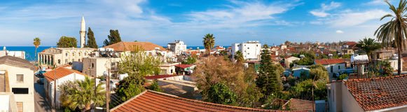 Panorama van oude stad Dakmening Larnaca cyprus royalty-vrije stock foto