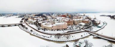 Panorama van oude stad in de winter Vyborg, Rusland royalty-vrije stock foto