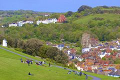 Panorama van Oude Stad in Hastings Royalty-vrije Stock Fotografie