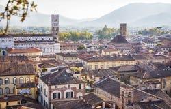 Panorama van oude stad Luca, Italië Royalty-vrije Stock Foto's