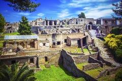 Panorama van oude stad van Pompei met huizen en straten Pompei is oude Roman stad stierf aan uitbarsting van Onderstel stock afbeelding