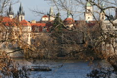 Panorama van oude stad in Praag Stock Fotografie