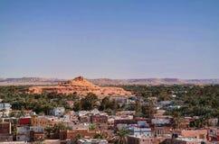 Panorama van oude stad Shali en berg Dakrour, Siwa-oase, Egypte royalty-vrije stock afbeeldingen