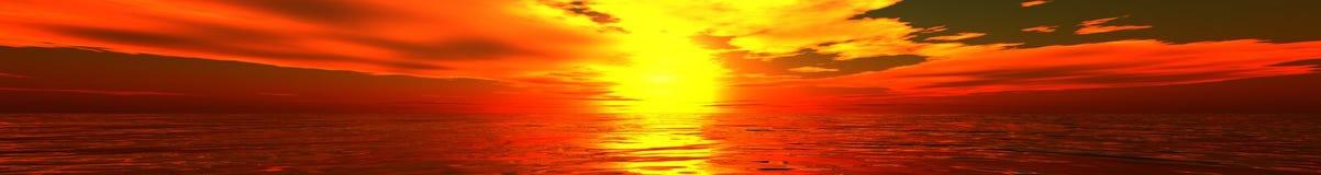 Panorama van overzeese zonsondergang royalty-vrije stock afbeeldingen