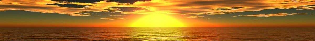 Panorama van overzeese zonsondergang, zonsopgang stock fotografie