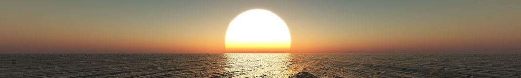 Panorama van overzeese zonsondergang, zonsopgang royalty-vrije stock foto