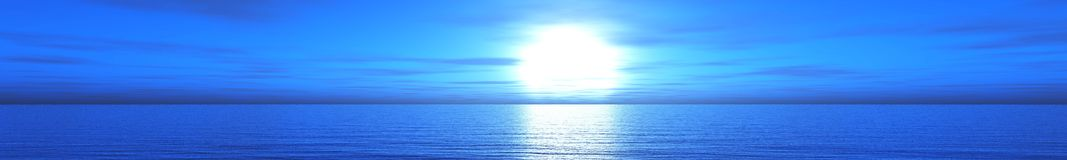Panorama van overzeese zonsondergang, zonsopgang royalty-vrije stock foto's