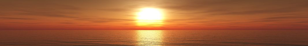 Panorama van overzeese zonsondergang, zonsopgang stock afbeelding