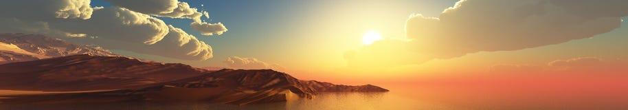 Panorama van overzeese zonsondergang, zonsopgang royalty-vrije stock afbeeldingen