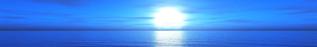 Panorama van overzeese zonsondergang, zonsopgang royalty-vrije illustratie