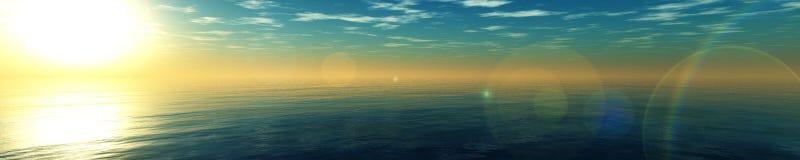 Panorama van overzeese zonsondergang, zonsopgang stock foto's