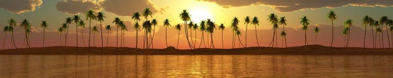 Panorama van overzeese zonsondergang, zonsopgang, Banner, Eiland Zeegezicht palmen royalty-vrije stock afbeelding