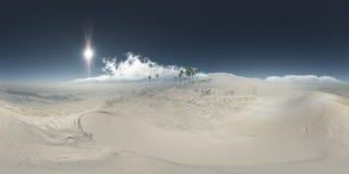 Panorama van palmen in woestijn bij zandstorm Stock Afbeelding