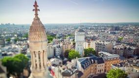 Panorama van Parijs timelapse Hoogste mening van Heilige Hartbasiliek van Montmartre Zonnige dag stock video