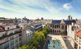 Panorama van Parijs van het dak van het gebouw van het Centre Pompidoumuseum frankrijk stock foto