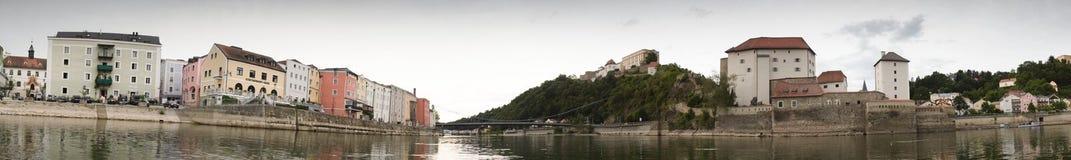 Panorama van Passau stock foto's