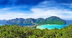 Panorama van phi-Phi eiland, Krabi-Provincie, Thailand Stock Afbeelding