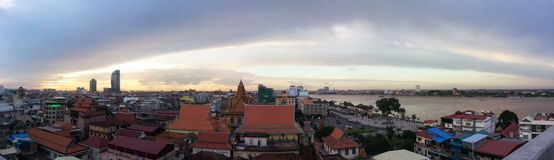 Panorama van Phnom Penh Stock Foto