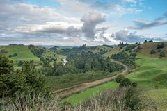 Panorama van Piriaka-Vooruitzicht dichtbij Manunui in Nieuw Zeeland royalty-vrije stock fotografie