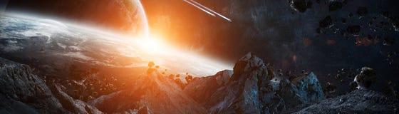 Panorama van planeten in ver zonnestelsel 3D teruggevend e royalty-vrije illustratie