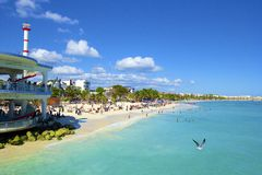 Panorama van Playa del Carmenstrand, Mexico Stock Afbeelding