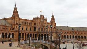 Panorama van Plaza DE Espana in Sevilla, Andalusia, Spanje stock footage