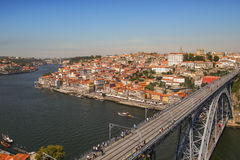 Panorama van Ponte Luis I Brug over de Douro-rivier Porto, Por stock foto