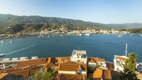Panorama van Poros-eiland, Griekenland Reis stock afbeeldingen