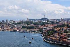 Panorama van Porto en de Douro-Rivier stock afbeeldingen