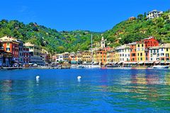 Panorama van Portofino-haven, Liguri?, Itali? 2019 royalty-vrije stock foto