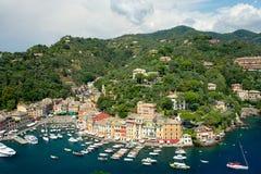 Panorama van Portofino, Ligurië, Italië Stock Foto