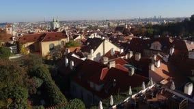 Panorama van Praag in de herfst Stock Foto