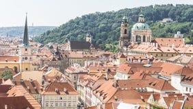 Panorama van Praag van het Kasteel van Praag, Tsjechische Republiek Royalty-vrije Stock Fotografie