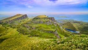 Panorama van Quiraing-kustlijn in Schotse hooglanden Royalty-vrije Stock Afbeelding