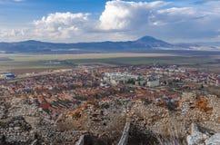 Panorama van Rasnov, Roemenië royalty-vrije stock afbeeldingen