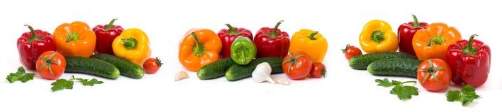 Panorama van Rode gele en oranje peper met tomaten op een witte achtergrond Komkommers met kleurrijke peper in composit Stock Afbeeldingen