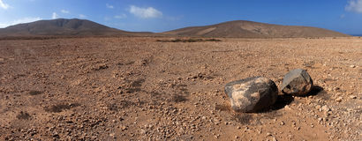 Panorama van rots & vulkanische woestijn, Fuerteventura Royalty-vrije Stock Afbeeldingen