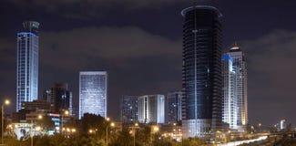 Panorama van 's nachts ramat-Gan Stock Foto