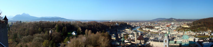 Panorama van Salzburg Stock Foto's
