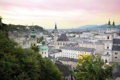 Panorama van Salzburg, Oostenrijk Stock Foto