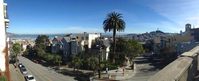 Panorama van San Franisco, Californië met Coit-Toren Stock Foto