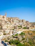 Panorama van Sassi di Matera, voorhistorisch historisch centrum, Unesco-de Plaats van de Werelderfenis royalty-vrije stock fotografie