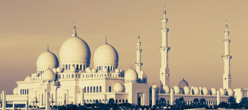 Panorama van Sheikh Zayed Mosque Stock Afbeelding